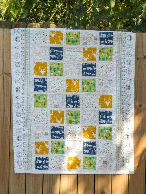 baby quilt, carrés patchwork